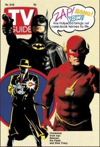 The Flash appearing on a classic TV Guide cover alongside his contemporaries of the time including Batman.